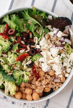 Greek Salad with Broccoli, Sun Dried Tomatoes and Homemade Greek Dressing