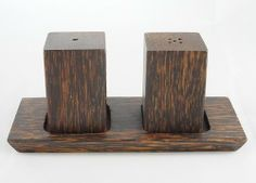 Set of Wooden Salt and Pepper Shakers Hand Craft Craved Quadrilat Shape Palm Wood by Unknown. $12.99. Product of Thailand