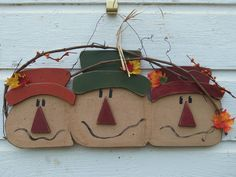 Primitive Hanging Wood Scarecrow Faces, Handmade, with Autumn Leaves, Grapevine, Rusty Wire Hanger