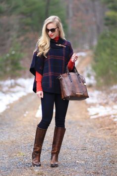 Ralph Lauren navy plaid buckle poncho, red turtleneck, holiday outfit, 7 for all mankind slim illusion legging jeans, Frye Mustang riding boots, Brahmin snakeskin duxbury satchel, classic poncho outfit