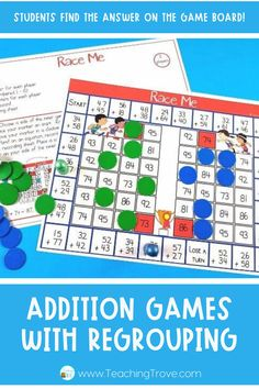Double digit addition with regrouping can be so much fun with games. Perfect for centers and small groups, your 2nd grade students are going to love learning to regroup with these addition games. #2digitregrouping #additionwithregrouping #regrouping