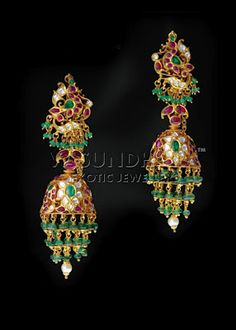 Indian Jewellery and Clothing: Exclusive eye catching designs from Vasundhara exotic jewellers. India Jewelry, Ear Jewelry, Bridal Jewelry, Beaded Jewelry, Jewelery, Gold Jewelry, Jewellery Earrings, Temple Jewellery, Simple Jewelry