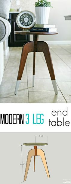how to make a modern 3 leg table using a single board