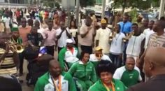 Nigerian paralytic Olympic game participant welcomed with a big celebration as the arrive Nigeria