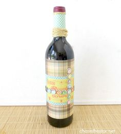 Decorated Wine Bottle {DIY Father's Day Gift}
