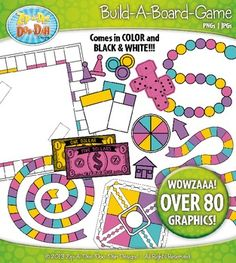 $4.50 Build A Board Game Clipart Set 280+ Graphics in Pretty Retro Colors (pink, yellow, teal, purple)You will receive 81 clipart graphics that were hand drawn by myself - 14 Game Board, 15 Game Cards, 8 Play Money ($1 to $20), 15 Game Pieces, 5 Dice, 7 Arrows, and 4 Spinner.