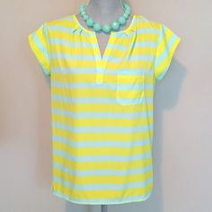 gap | striped cap sleeve, slit neck top. yellow + mint stripe. picture of model is to show fit. see description above for details. excellent condition! GAP Tops Blouses