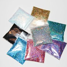 Rainbow Silver, Gold, Rose, Ultrafine White, Purple, Teal, Black andTurquoise SOLVENT RESISTANT 0.015 Hex Sparkle Fine Glitter