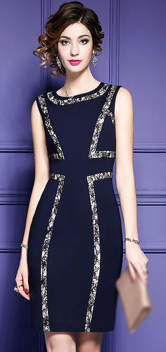 Stylish O-Neck Sleeveless Lace Patchwork Bodycon Dress