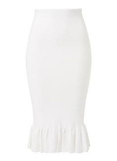 Viscose/Nylon Crepe Frill Midi Skirt. Slim fitting silhouette features an internal elasticised waistband with frill midi hem in an all over crepe knit fabrication. Available in Cream as shown.
