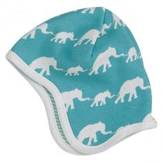 Hat/bonnet, blue elephants, Pigeon Organics