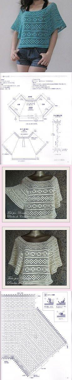 Свободная блуза-пончо филейной вязкой (крючок)