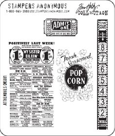 Tim Holtz Cling Rubber Stamps AT THE MOVIES Stampers Anonymous at Simon Says STAMP!