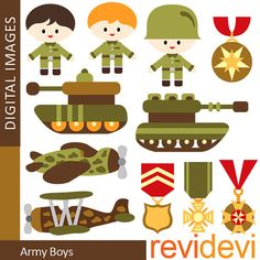 Clipart Army Boys 07315 - Digital Images -  Commercial use for printed invites and stationery, paper goods, web design