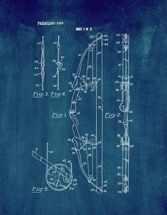 Compound Archery Bow Patent Print Art Poster Midnight (Black) Blue (18' x 24')