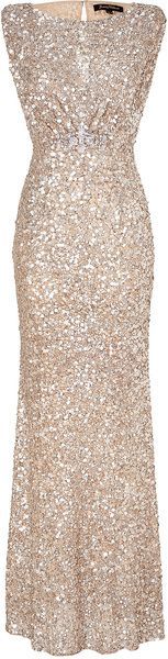 JENNY PACKHAM LONDON   Soft Gold Sleeveless Sequin Dress