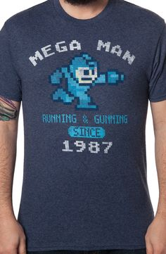 Navy 1987 Mega Man T-Shirt: Video Games Mega Man T-shirt