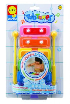 Get ready for a musically good time in the tub with Water Xylophone. It floats and you can experiment with sounds by disconnecting keys and sticking them to the wall. Comes with waterproof song sheets! #ALEXToys