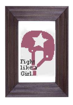 cross stitch pattern  Fight like a girl  by pickleladyfarm on Etsy, $5.00