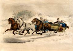 Currier and Ives Sleigh Race About the song Jinglebells. Currier And Ives, Woodland Christmas, Vintage Christmas, Christmas Crafts, Victorian Christmas, Great Works Of Art, Christmas Paintings, Christmas Illustration, Horse Art