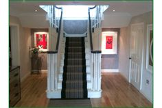 Rose Meryn T-Shaped Staircase Timber Handrail, Stair Spindles, Banisters, Newel Posts, Staircases, Glass Panels, Case Study, Stairs, Natural