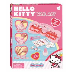 Hello Kitty AquaBeads Nail Art - - Create beautiful nails with Hello Kitty decorations and stickers. Over 40 nails to decorateIncludes over 100 nail decorationsThe perfect gift for every Hello Kitty f Sitting On The Fence, Hello Kitty Nails, Nail Decorations, Perfect Nails, Game Art, You Nailed It, Nail Designs, Arts And Crafts, Make It Yourself
