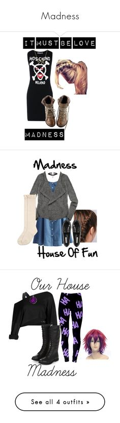 """Madness"" by sjc1999 ❤ liked on Polyvore featuring madness, baggytrousers, ourhouse, houseoffun, Moschino, Bling Jewelry, ItMustBeLove, Chicwish, Zadig & Voltaire and Dune"