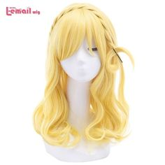 L-email wig New Arrival Love Live!Sunshine!! Ohara Mari Women Cosplay Wigs Yellow Braid Synthetic Hair Peruca Fashion Women Wigs