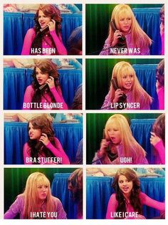 This character feud on Hannah Montana was the reason that I hated Wizard of Waverley place when it first started Hahahaha!