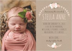 Spread the news of your new bundle of joy with birth announcements from Basic Invite. Find the perfect baby girl, baby boy or gender neutral announcements to bring a smile to your friends and family. Newborn Birth Announcements, Baby Girl Birth Announcement, Birth Announcement Template, Birth Announcement Photos, Baby Boy Birthday, Floral, 3d Printing, Baby Birth, Kids Birth