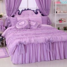 Korean Purple Flannel Bedding Set,Princess Lace Ruffles Purple Bedding Set Queen #FADFAY #Modern