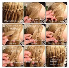 Waterfall hair braid tutorial