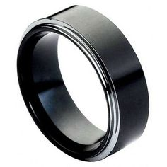 8mm Tungsten Men Women Wedding Ban Ring Polish Black Enamel Plated Beveled Edge