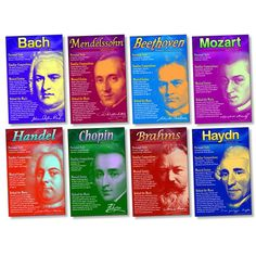 "Composers Bulletin Board, 8 11"" x 17"" posters Engage students with an unconventional look at composers. Discover famous composers' personalities, achievements, compositions, life events, and interests"