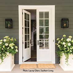Tour the 2016 Southern Living Idea House in Mt. Laurel, Alabama Front door of the 2016 Southern Living Idea House in Birmingham, Alabama Exterior Patio Doors, Porch Doors, Back Doors, Windows And Doors, Craftsman Patio Doors, Entry Doors, Back Door Entrance, Front Door Landscaping, Kitchen Patio Doors