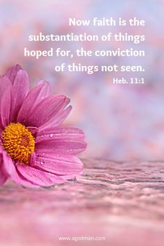 Now faith is the substantiation of things hoped for, the conviction of things not seen. Heb. 11:1