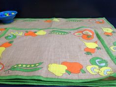 Vintage Linen Mix Table Mats, with orange green and yellow peppers, mushrooms and peas! by Onmykitchentable on Etsy https://www.etsy.com/listing/212693627/vintage-linen-mix-table-mats-with-orange