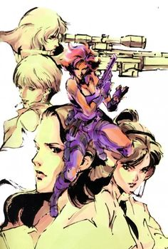 "gameandgraphics: "" Metal Gear Solid original art by Yoji Shinkawa (Konami for PlayStation, [source] "" Meryl Mgs, Metal Gear Games, Metal Gear Solid Series, Character Art, Character Design, Comic Manga, Gear Art, Figure Drawing Reference, Art Graphique"