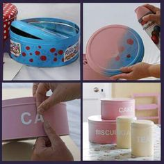 Upcycle sweet tin with Plastikote Crafty Projects, Projects To Try, Upcycling Projects, Upcycle Home, Recycled Tin Cans, Happy New Home, Home Bar Furniture, Office Makeover, Diy Cake