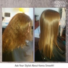 Spend less time styling...book your Kenra Smooth appointment today and eliminate up to 99% of curl and frizz for instantly smooth and soft hair with radiant shine! Work by stylist Ashley Schroer.