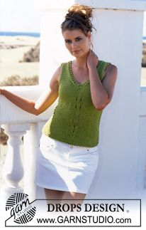 """DROPS tailored top with V-neck in """"Ice"""". ~ DROPS Design 0-384"""