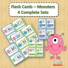 Monster Flash Cards 4 Complete Sets 4 cards per page - 45 pages & 180 Cards Set Numbers 0 to 20 with Ten Frames Set Numbers 0 to 100 Set ABCs in a fun Pirate-style font Set ABCs in Century Gothic Font Blank cards with monster Teaching Toddlers Abc, Elementary Teacher, Elementary Education, Monster School, School Reviews, Learn To Spell, Monster Characters, Primary Maths, Font Setting