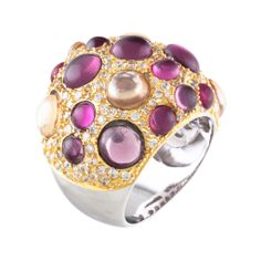 Silver and vermeil combination with a fun cabochons of pink amethyst and crystals. $295.00