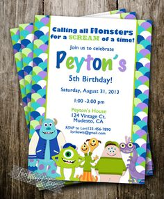 Monsters Inc University inspired Invitation Birthday Party Mike Wazowski Sully digital printable diy. Make your party invitations unique! Monster University Birthday, Monster Birthday Parties, Carnival Birthday Parties, First Birthday Parties, Birthday Party Themes, First Birthdays, Birthday Ideas, Circus Birthday, Circus Theme