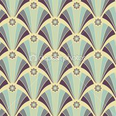 Naadloze patroon met geometrische violet sieraad op de gele achtergrond
