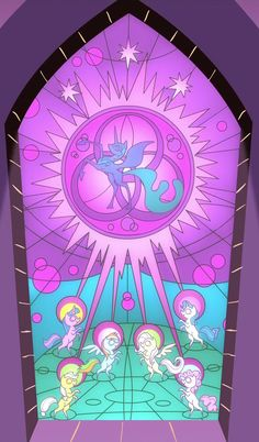 Stained glass window of the ponies using the Elements of Harmony