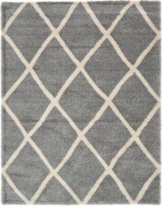 Gray 10' x 13' Luxe Trellis Shag Rug | Area Rugs | eSaleRugs