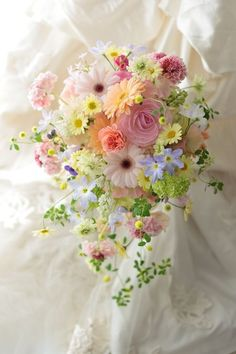 Dainty wedding bouquet in pretty pastels ~ Ana Rosa Arrangements Ikebana, Floral Arrangements, Bride Bouquets, Floral Bouquets, Gerbera Bouquet, Pastel Bouquet, Floral Wedding, Wedding Flowers, Trendy Wedding
