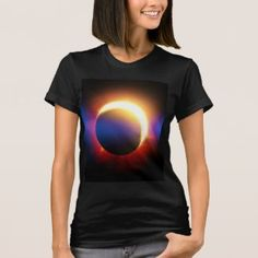 "A solar eclipse (the moon covering the sun), with the typical ""lens-flare"" effect in blue. Size: Adult L. Nike Lunar, Helly Hansen, Lens Flare Effect, Piercings, Eclipse T Shirt, Moda Emo, Solar Eclipse, Tshirts Online, Cool Outfits"