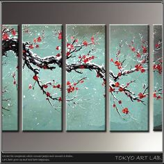 : Group of five pieces of wearing in the picture wall hangings interior flower piece fashion wall hangings picture art panel Japanese Landscape, Japanese Modern, Japanese Art, Japanese Style, Apartment Painting, 3 Piece Canvas Art, Abstract Painting Techniques, Cherry Blossom Art, Plum Flowers